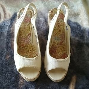 3 For $12 Sale! Eggshell Color Canvas Wedges